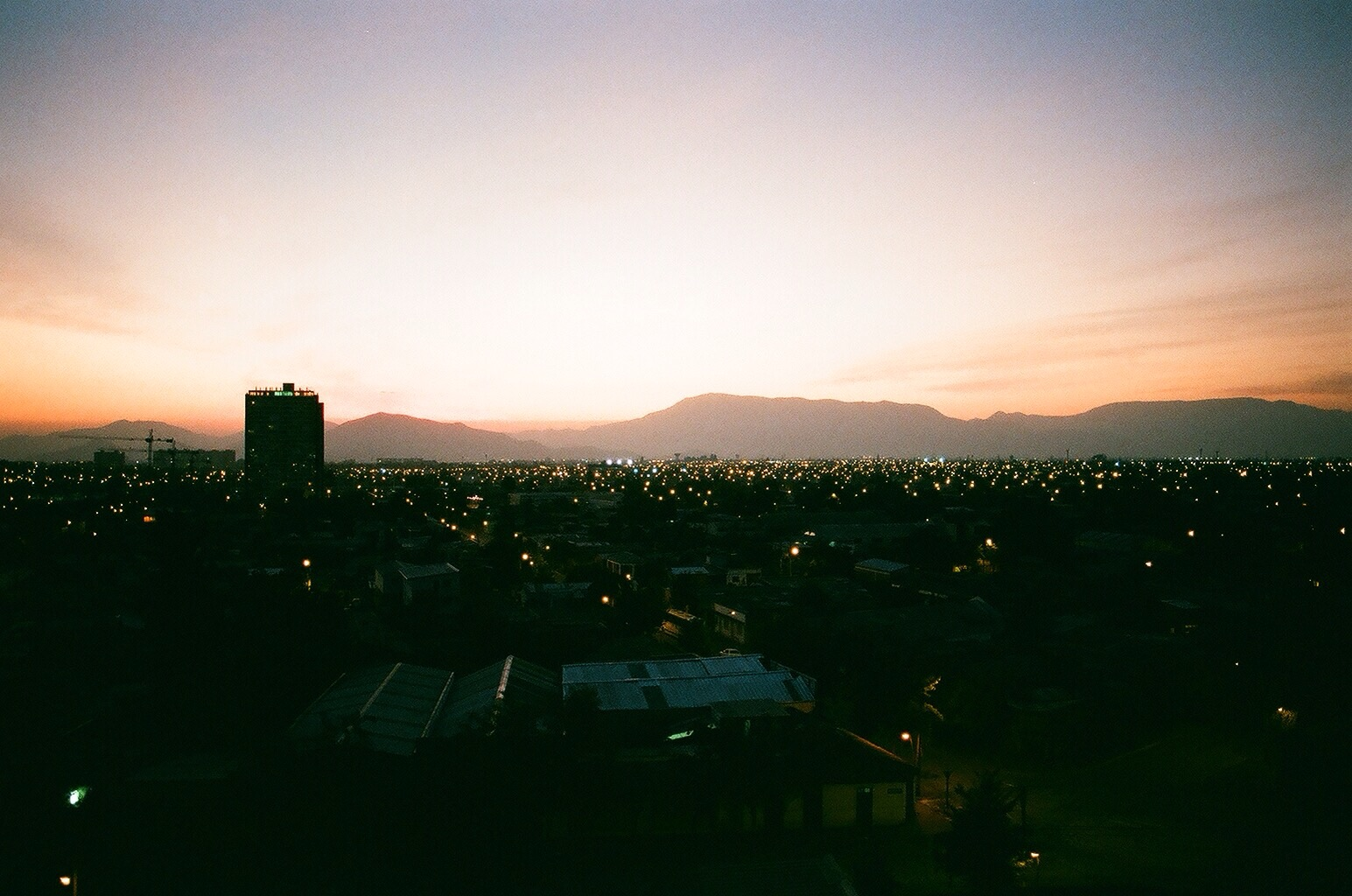 film. Sunset from a friend's balcony.