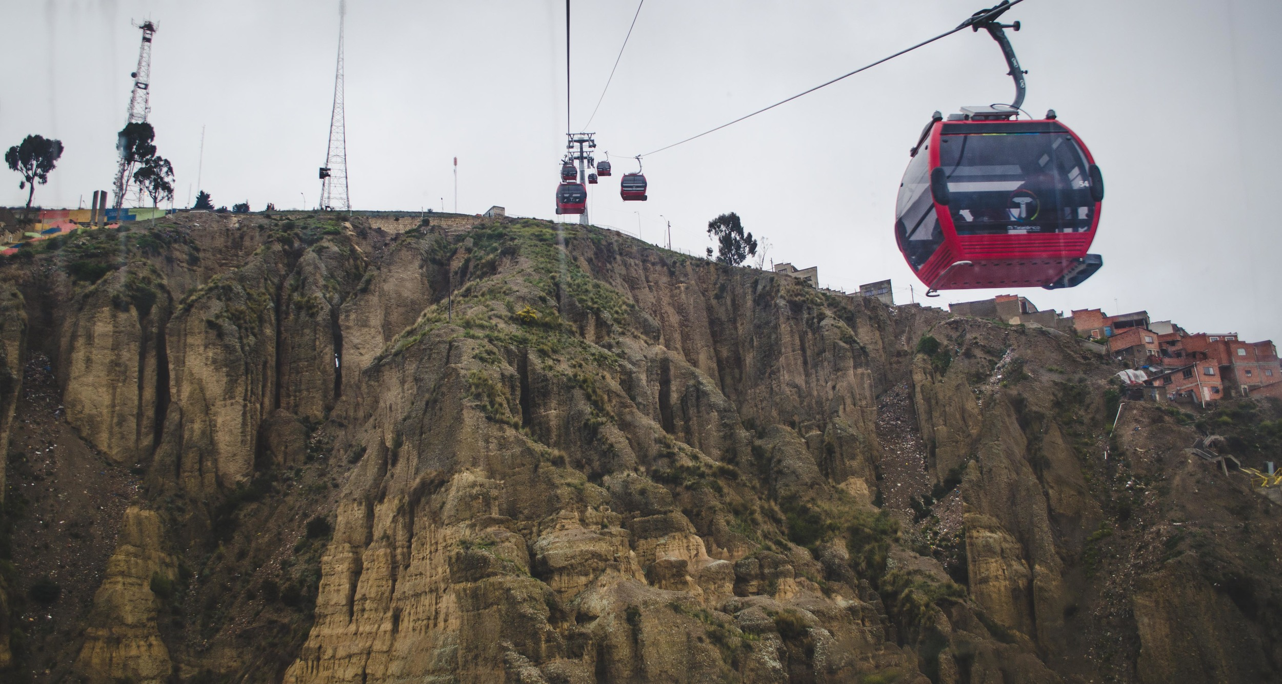 taking the teleférico down from El Alto (top of the cliff) to La Paz (valley)