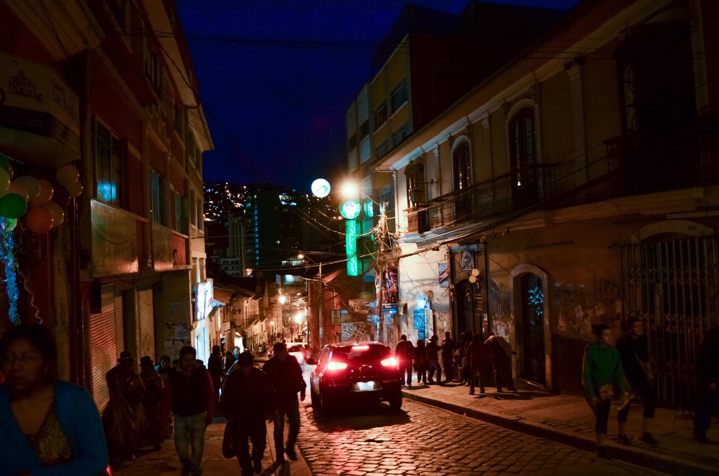 Night scene in La Paz - it's a steep walk to get anywhere / 16 February