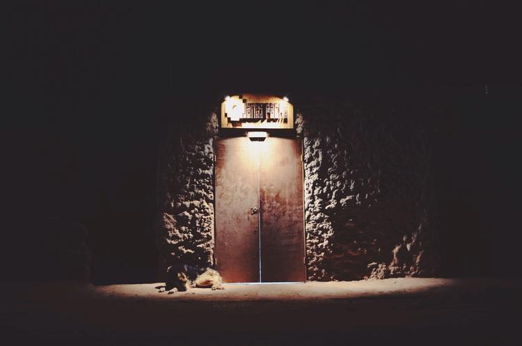 Street dog sleeps in San Pedro de Atacama in northern Chile