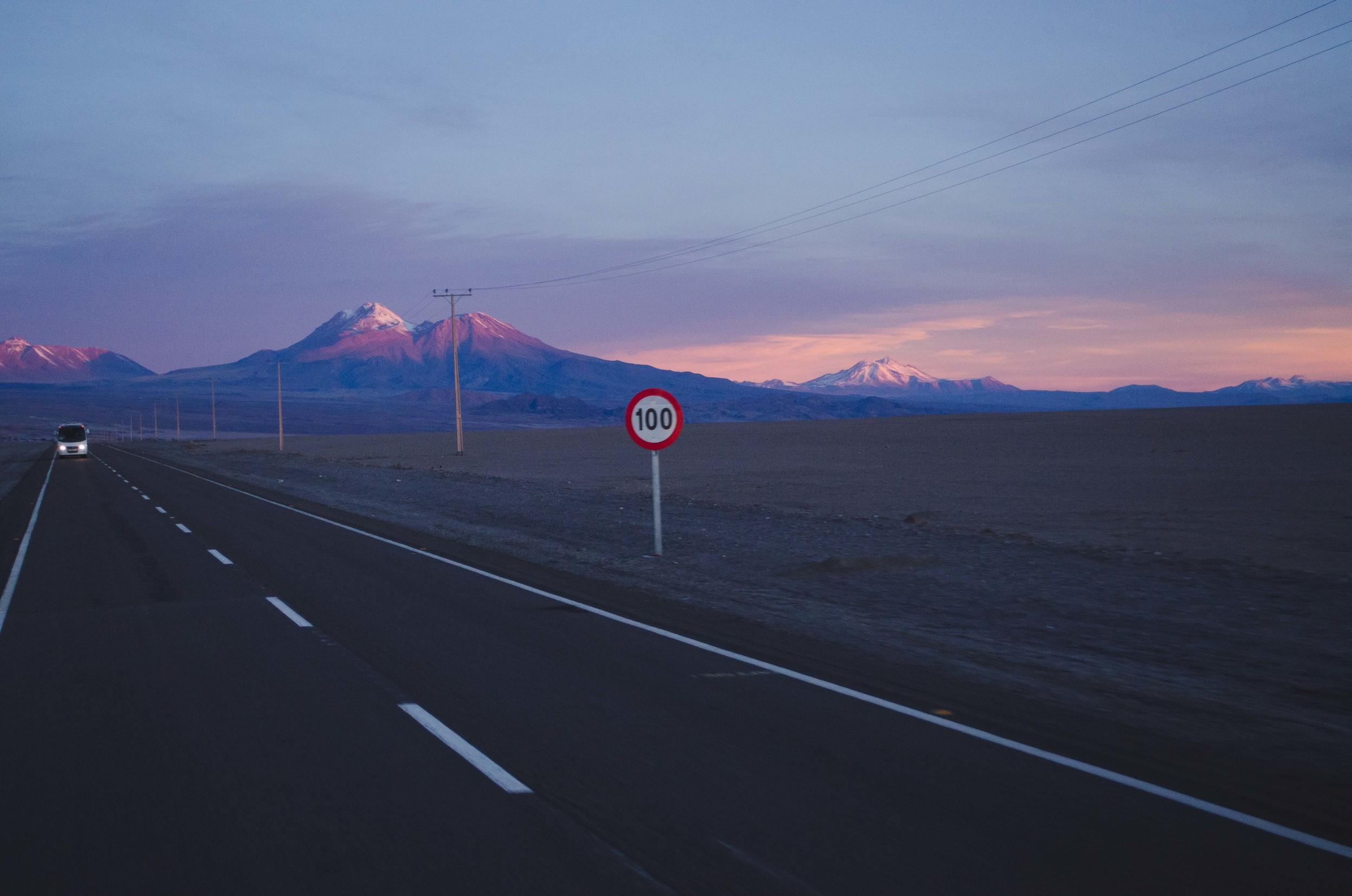 Driving from the salt flats to San Pedro de Atacama