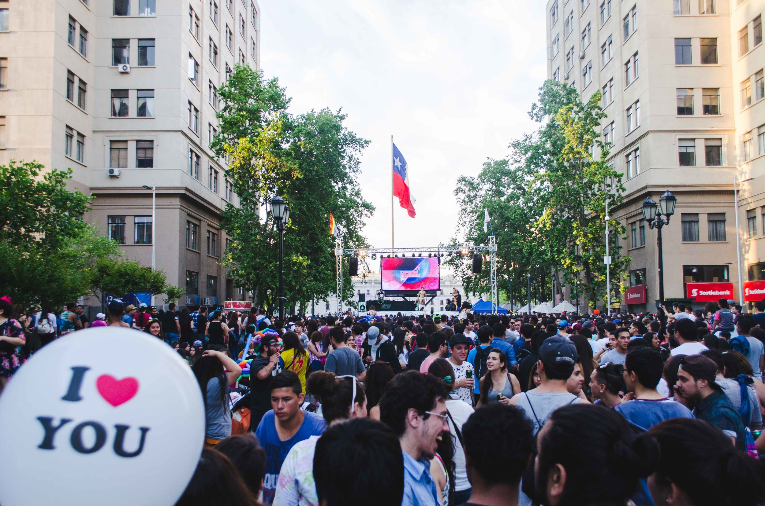 Pride fest in the pedestrian-only boulevard in front of La Moneda (palace) in Santiago