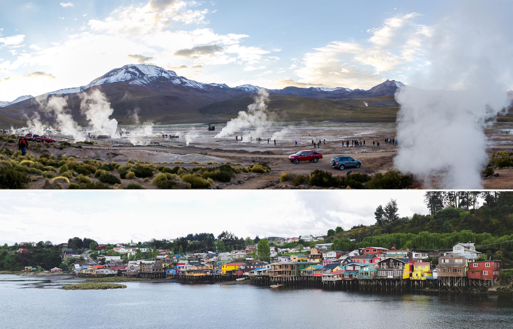 Tatio Geysers in the Atacama Desert (above) // Castro, the capital city of the island of Chiloé