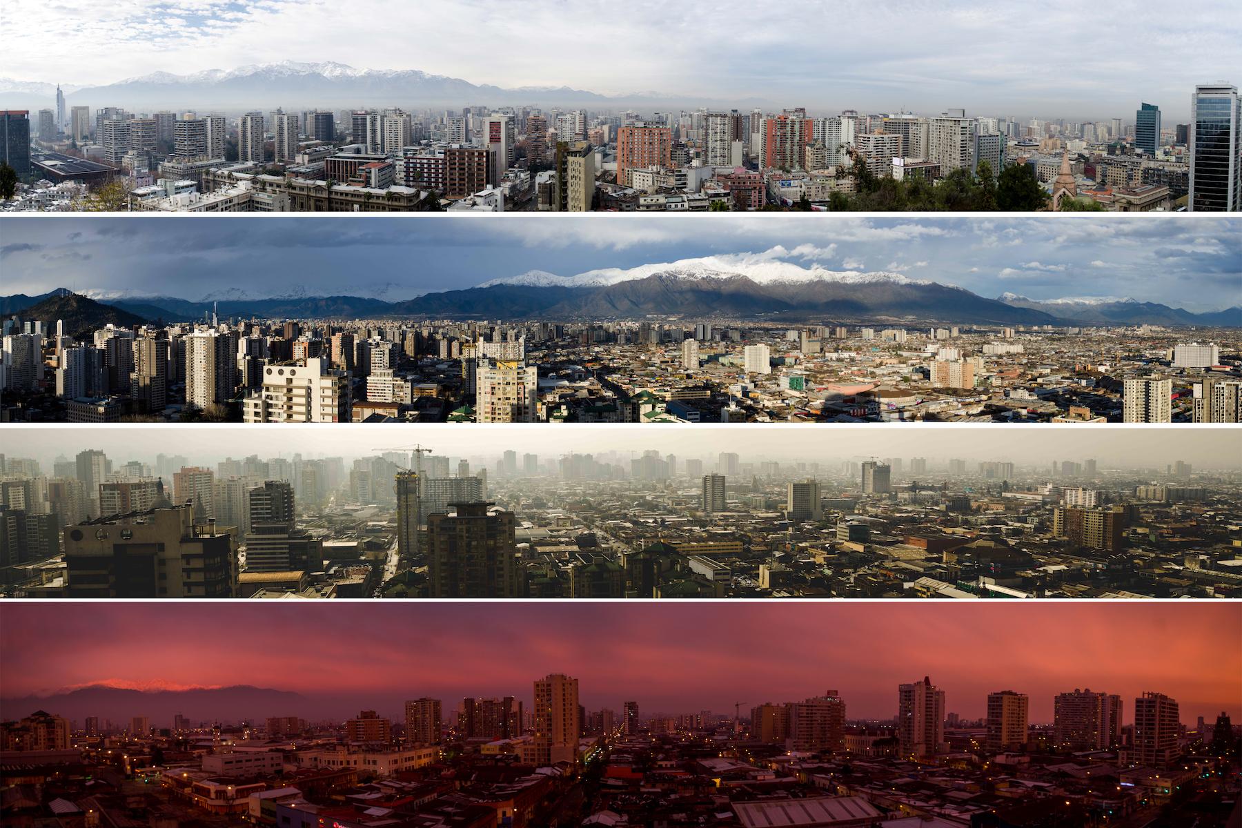Panoramas taken from various points in Santiago