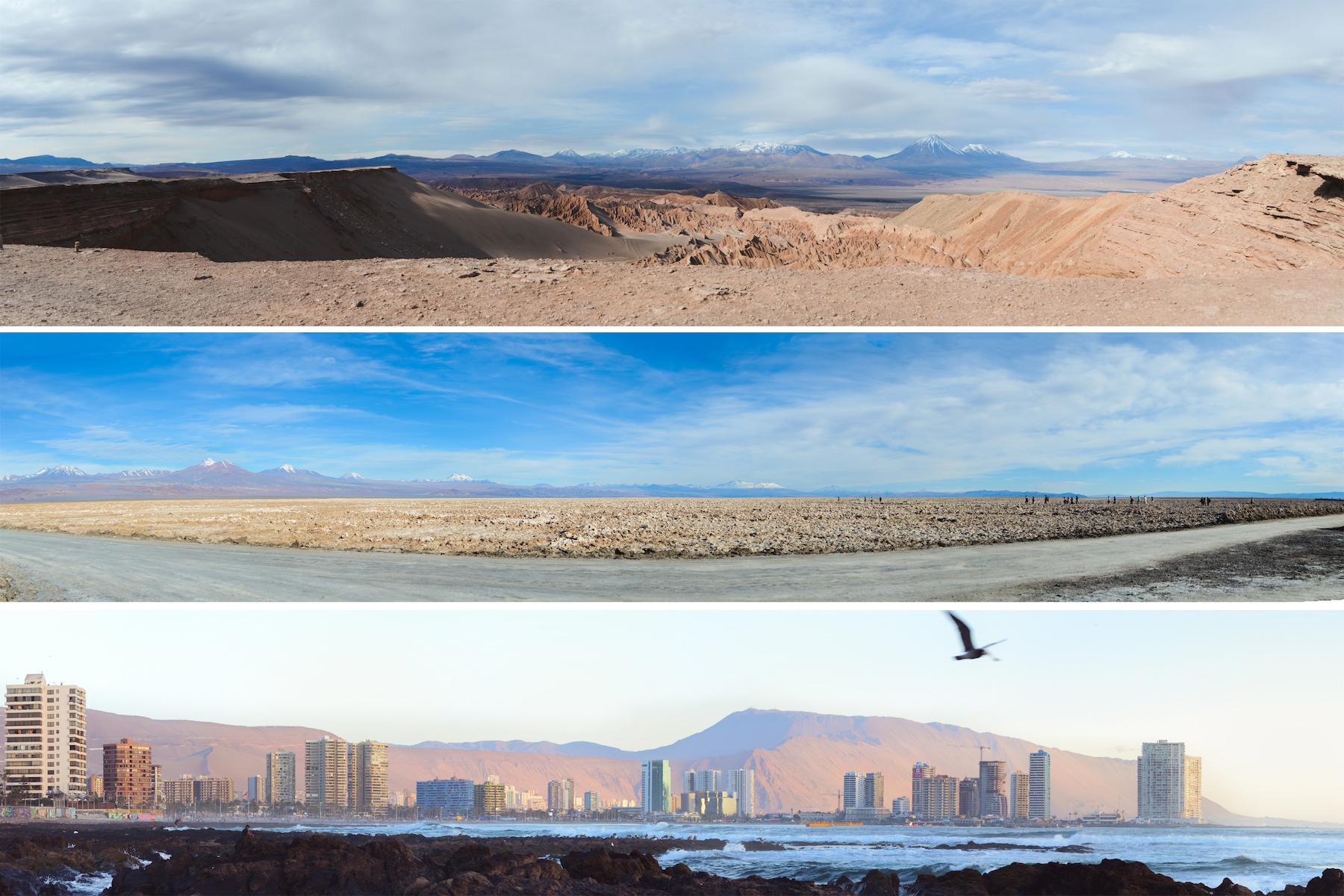 Atacama Desert (above) //Salt Flats (middle) // Iquique (bottom)