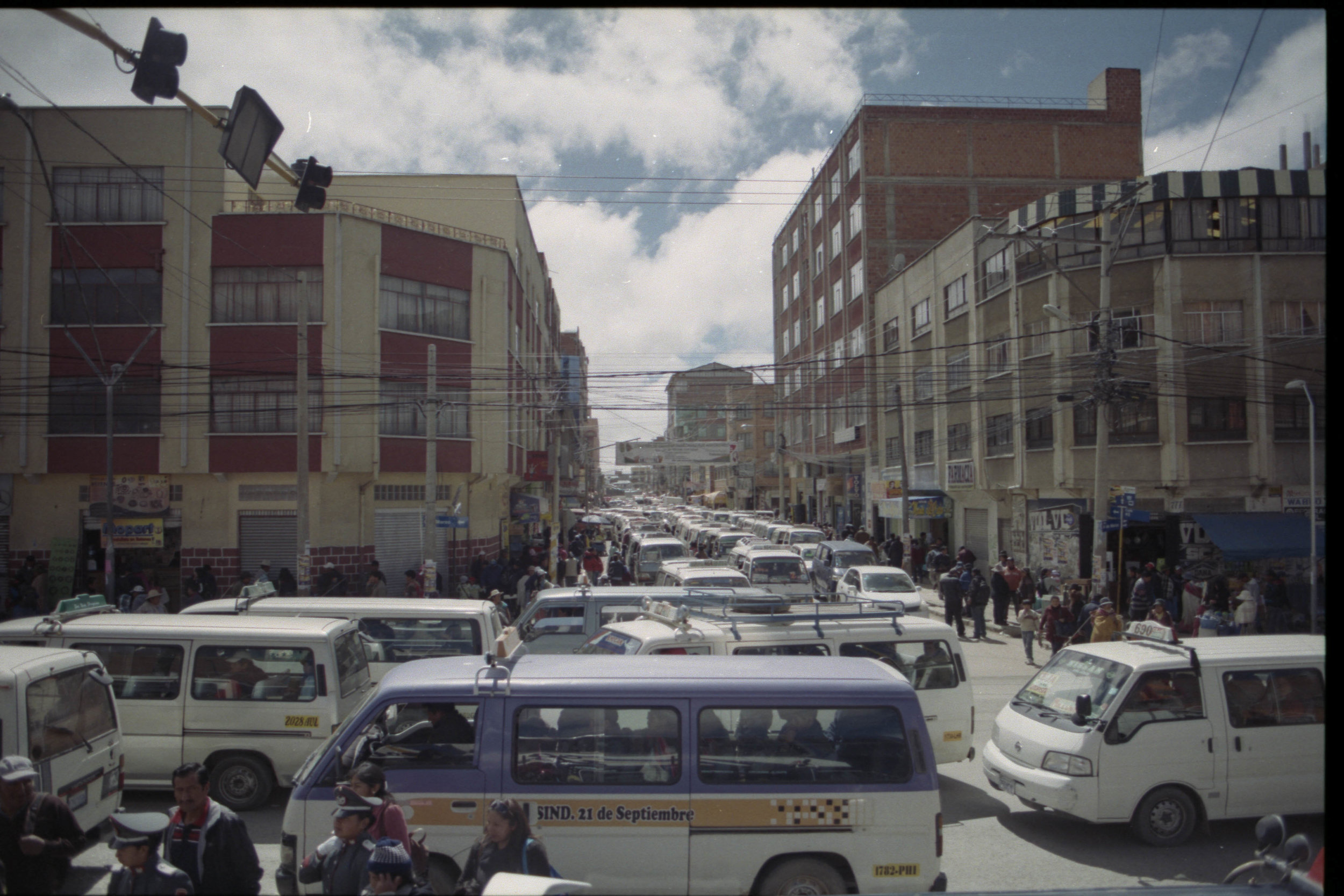 Packed streets in El Alto, the city where the airport is located, just outside the capital of Bolivia