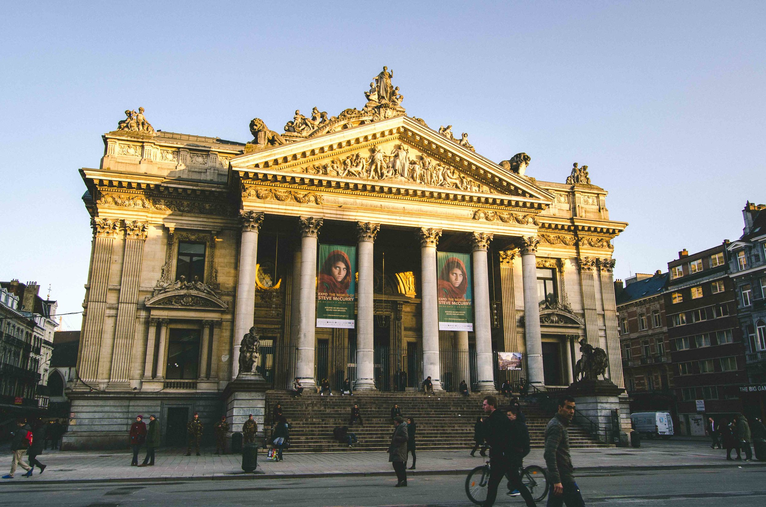 Brussels Stock Exchange building with a Steve McCurry photography exhibition