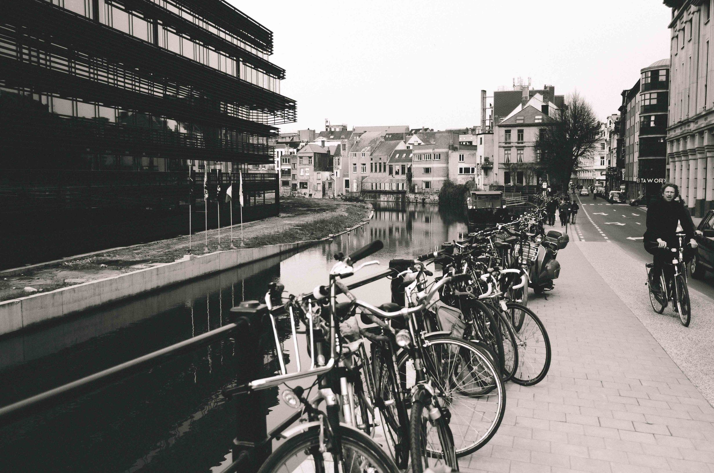 De Krook (left) bordering the canal in the city center