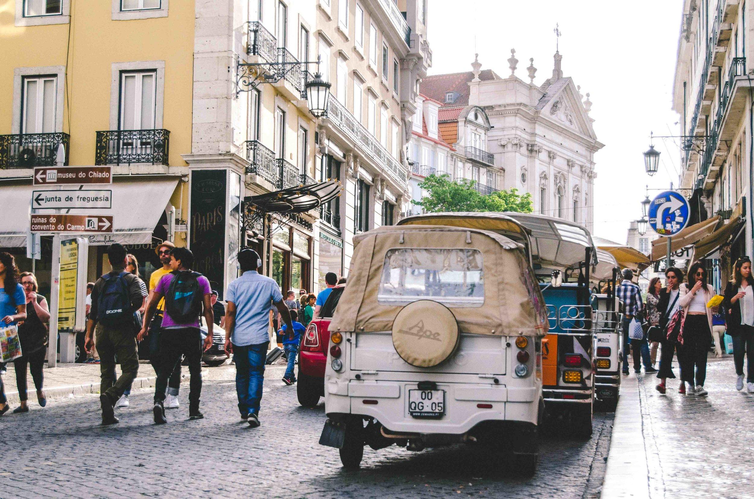 Walking the streets of Lisbon, near Praça Luís de Camões on R. Garrett