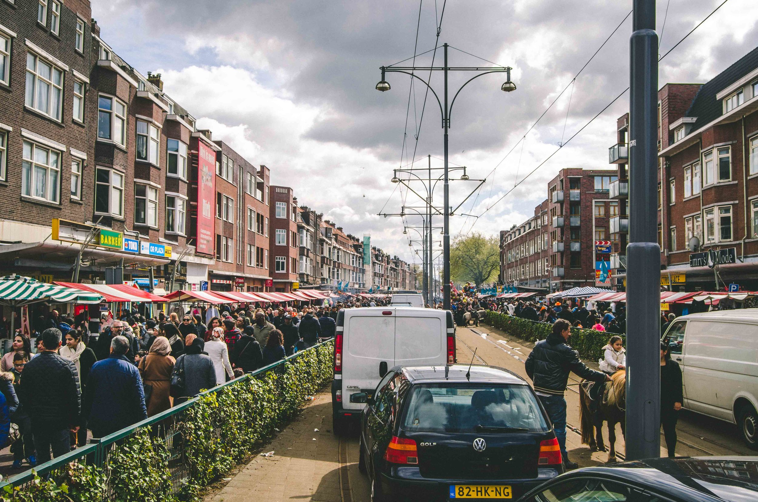 Another flea market in a different neighborhood of Rotterdam, where this section of the tram line was temporarily closed for the market.