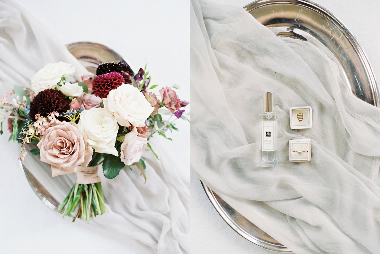 Wedding bouquet with plum, blush, burgandy, and cream roses