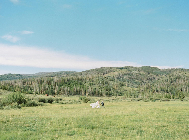 Bride and groom at Devils Thumb Ranch in Tabernash, Colorado