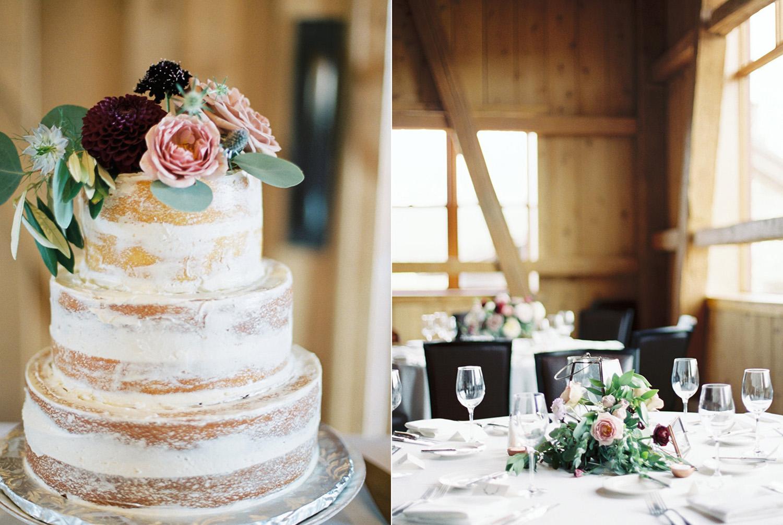Naked wedding cake and reception room at Devils Thumb Ranch