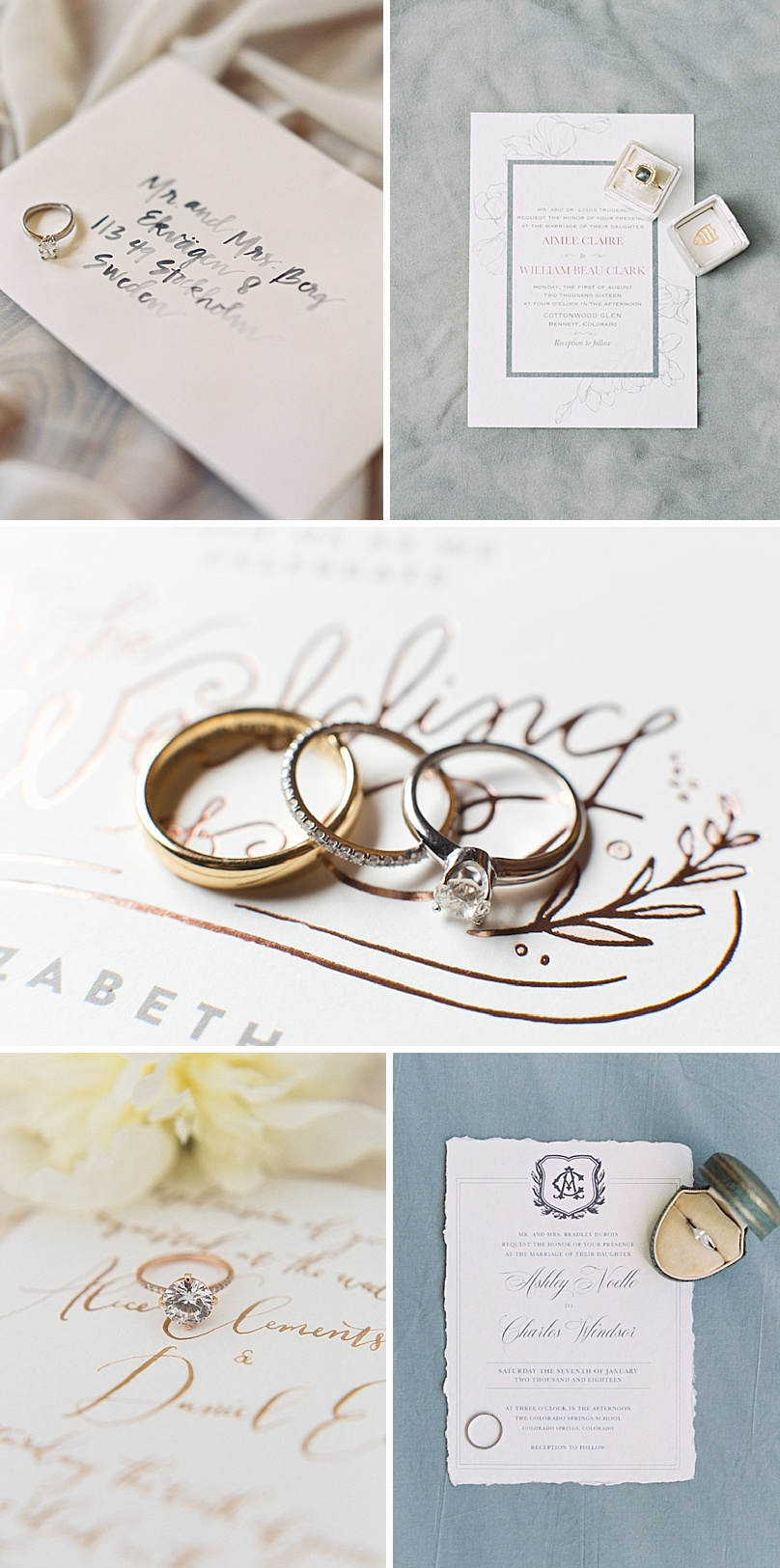 How to style your ring with your wedding invitations by The Styled Soiree, photos by:  Top Row  Carrie King Photography ,  Rachel Gomez Photography  Middle:  Jackie Cooper Photography  Bottom Row:  Michele with one L ,  Sara Lynn Photo