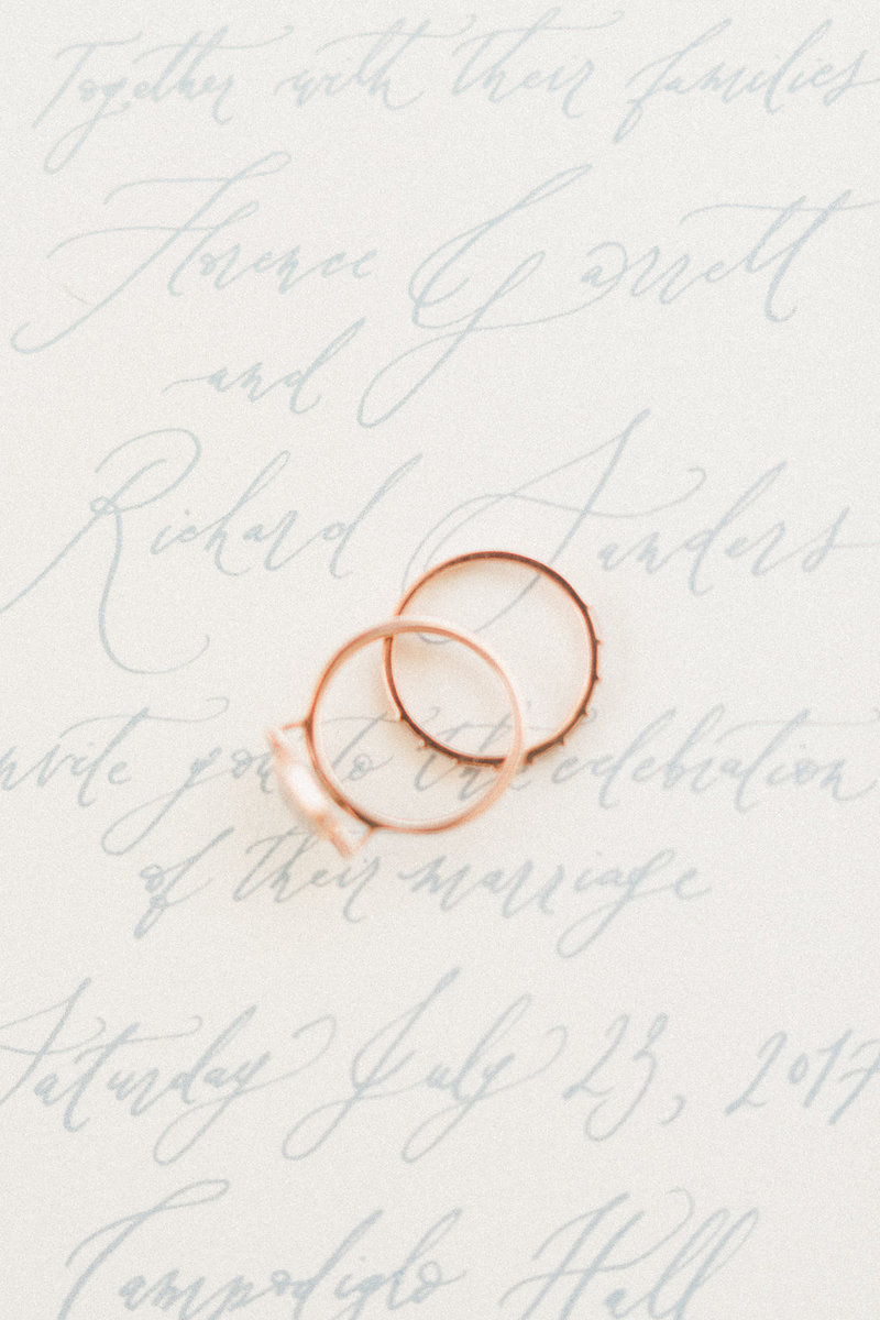 Beautiful calligraphy from  Ettie Kim  with wedding rings styled by The Styled Soiree, photo by  Decorus Fine Art Photography