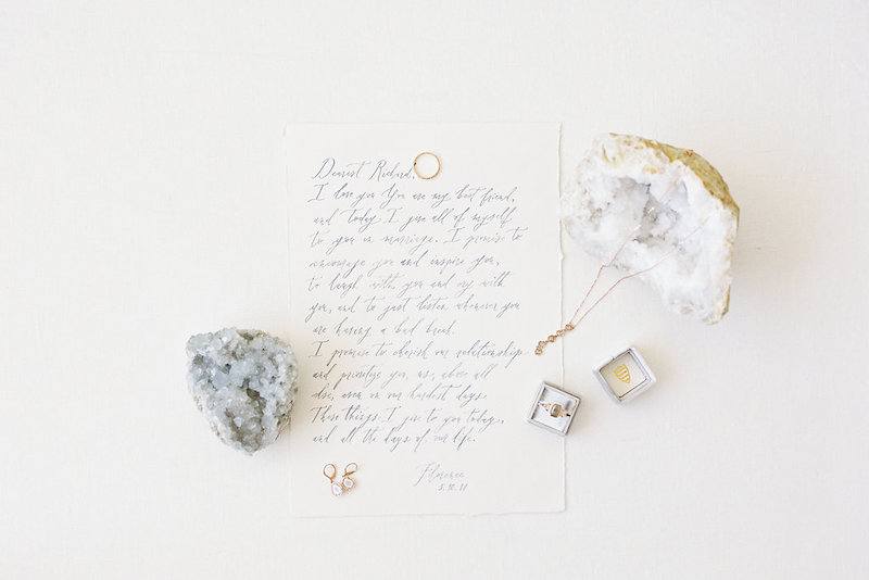 Beautiful calligraphy from  Ettie Kim  with wedding rings and jewelry from Sarah O. Jewelry using a Mrs. Box styled by The Styled Soiree, photo by  Decorus Photography