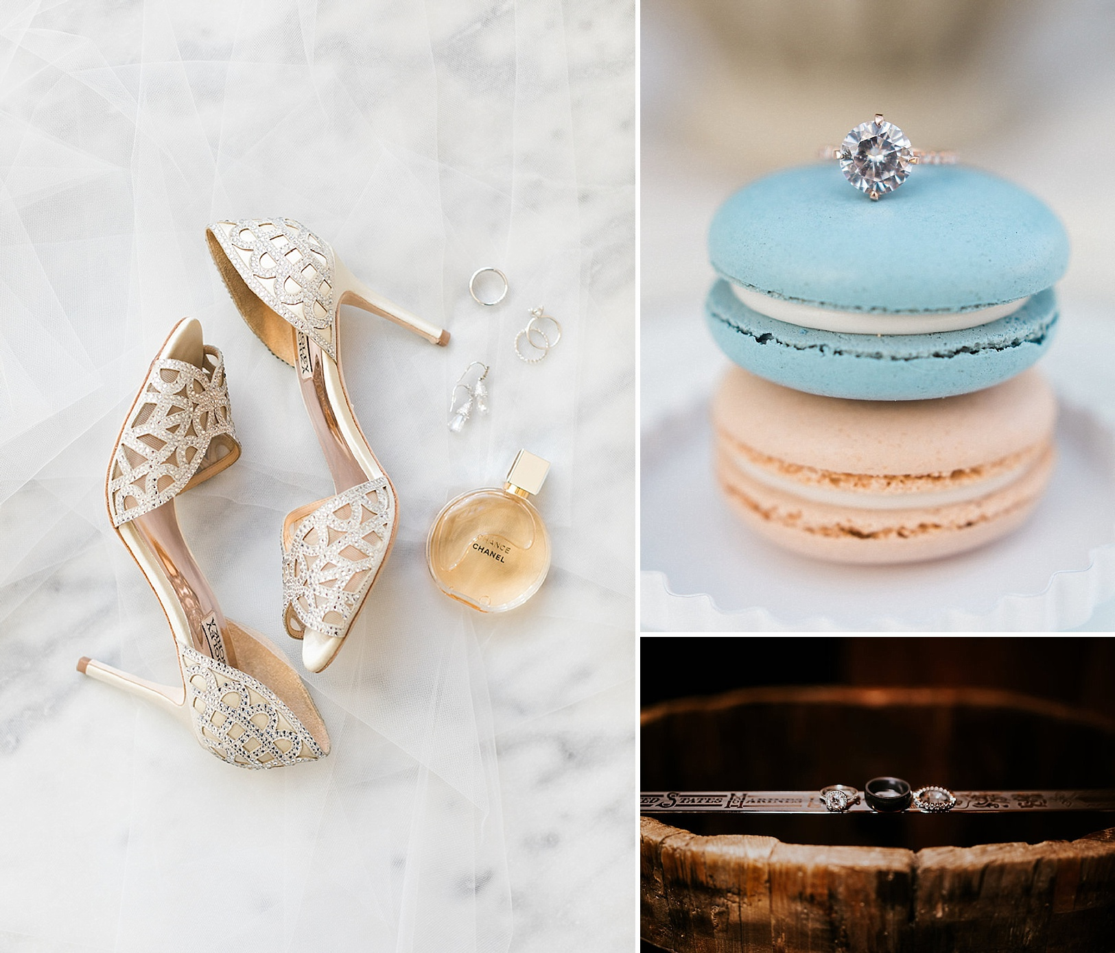 How to style your wedding rings with other special elements of your wedding day by The Styled Soiree Photo by (clockwise from left):  Jackie Cooper Photography ,  Michele with one L ,  Ashlee Crowden Photograph y