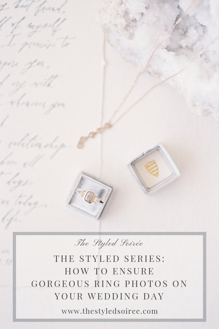 This chapter of The Styled Series by The Styled Soiree, a Fine Art wedding planning company based in Colorado, is all about creating the beautiful, editorial-style images of your engagement and wedding rings on your wedding day. Styling by The Styled Soiree, Jewelry by  Sarah O. Jewelry , Calligraphy by  Ettie Kim , Photo by  Decorus Photography .