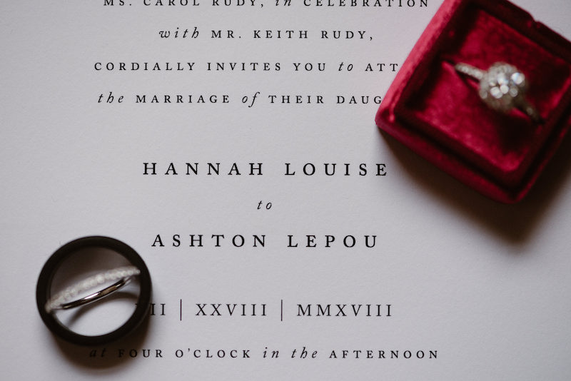 If the sizes work, you can balance one wedding band inside of the other. Styled by The Styled Soiree, photo by  Larsen Photo Co.