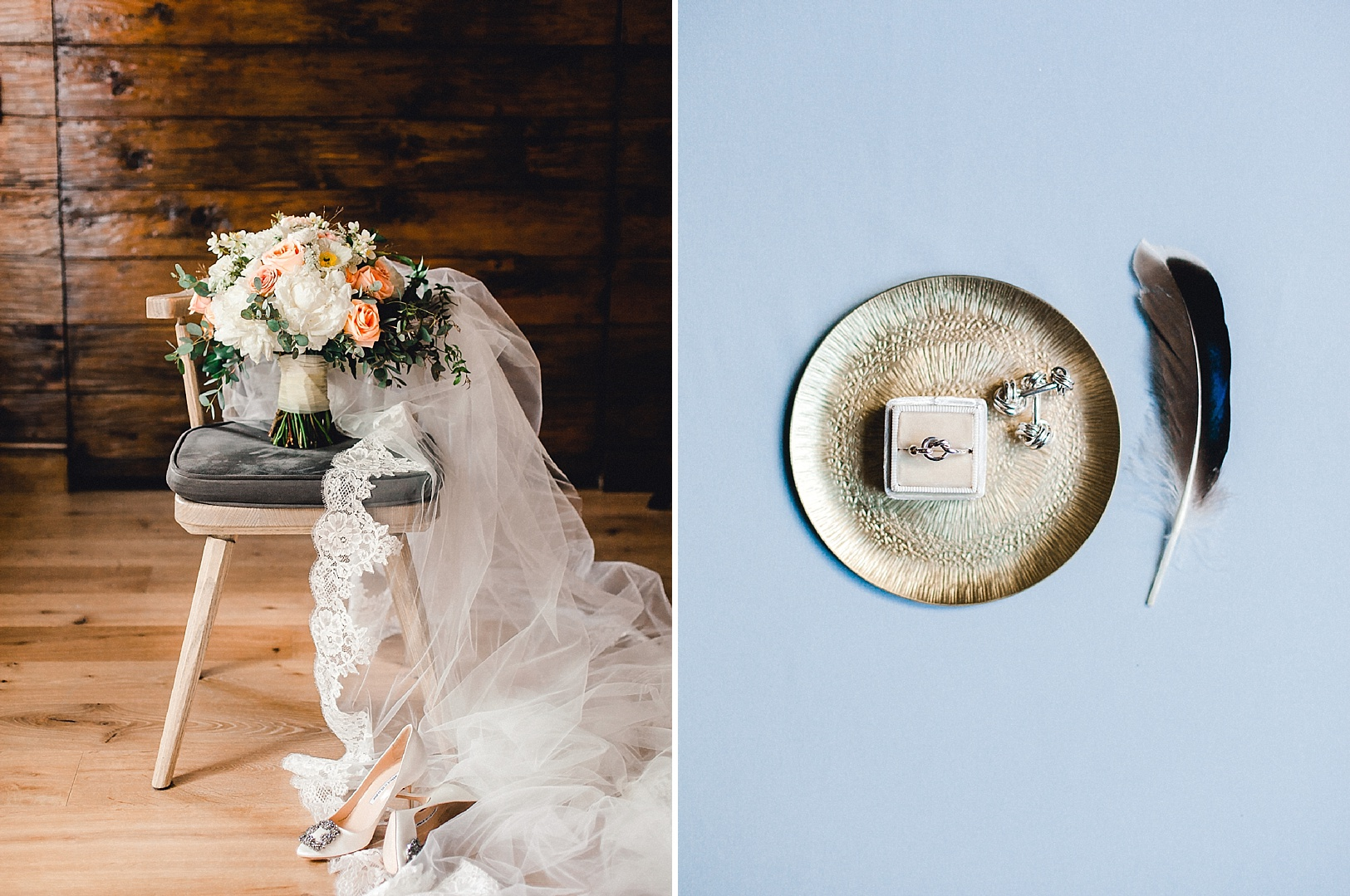 Wedding bouquet and veil with lovers knot rings at The Sonnenalp in Vail
