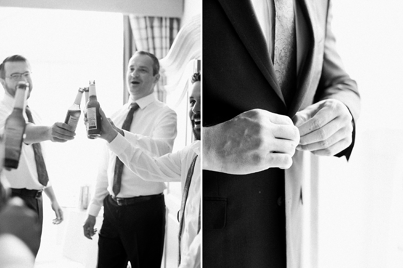 Groom getting ready with friends and buttoning his suit jacket