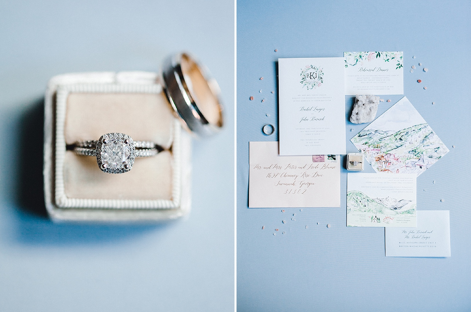 A velvet ring box and watercolor invitation suite on a blue styling board