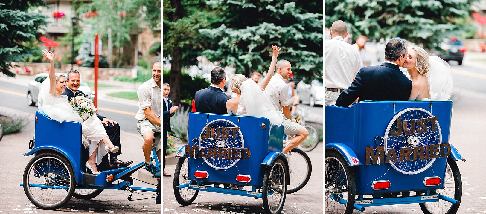Bride and Groom taking a pedicab ride after wedding ceremony in Vail, Colorado