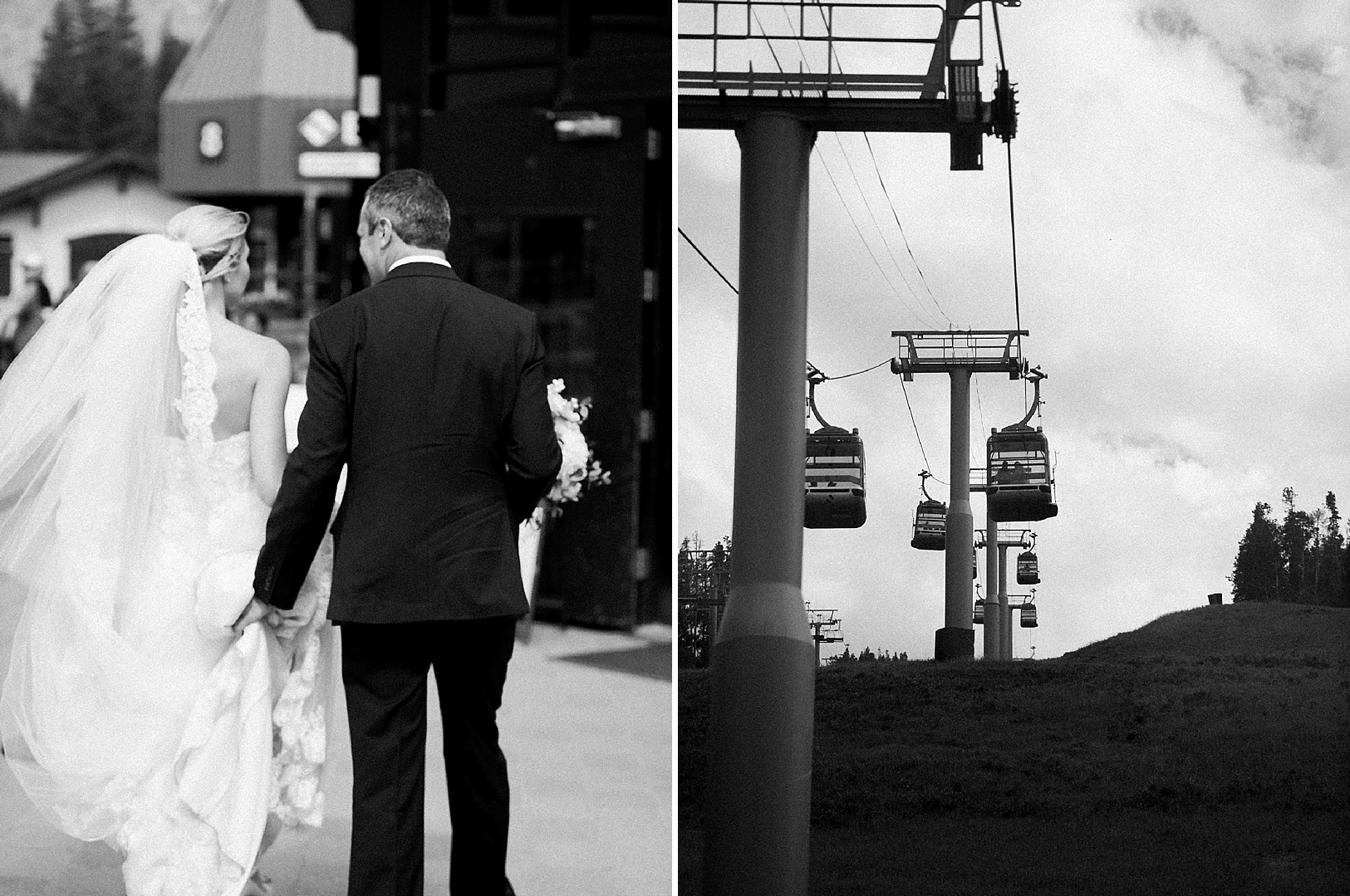 Bride and Groom taking the Vail Gondola after their wedding ceremony
