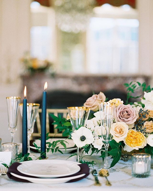 Loving this color palette of yellows, mauves, navy, and eggplant! So perfect for Fall and Winter weddings! . Photo @saralynnphoto  Floral design @premastyle  Table settings @copartyrentals  Table linen @latavolalinen  Other vendors from this fun day (which was featured on @magnoliarouge) @astonishingcakes @chelseagarciabeauty @bluebridal @tara_keely @saragabrielveils @susiesaltzman . . . #thatsdarling #pursuepretty #Flashesofdelight #darlingmovement #Calledtobecreative #soloverly #ohwowyes #dowhatyoulove #designisinthedetails #coloradowedding #coloradobride #coloradoweddingplanner #mountainwedding #mountainweddingplanner #denverwedding #denverweddingplanner #magnoliarouge #featured