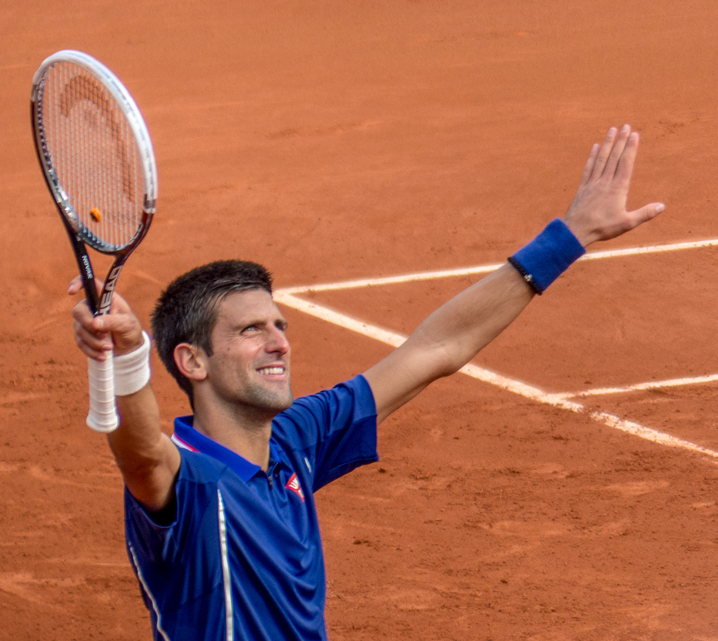 Novak Djokovic at the French Open, where he must make his stand against Rafael Nadal. Photograph by Yann Caradec.