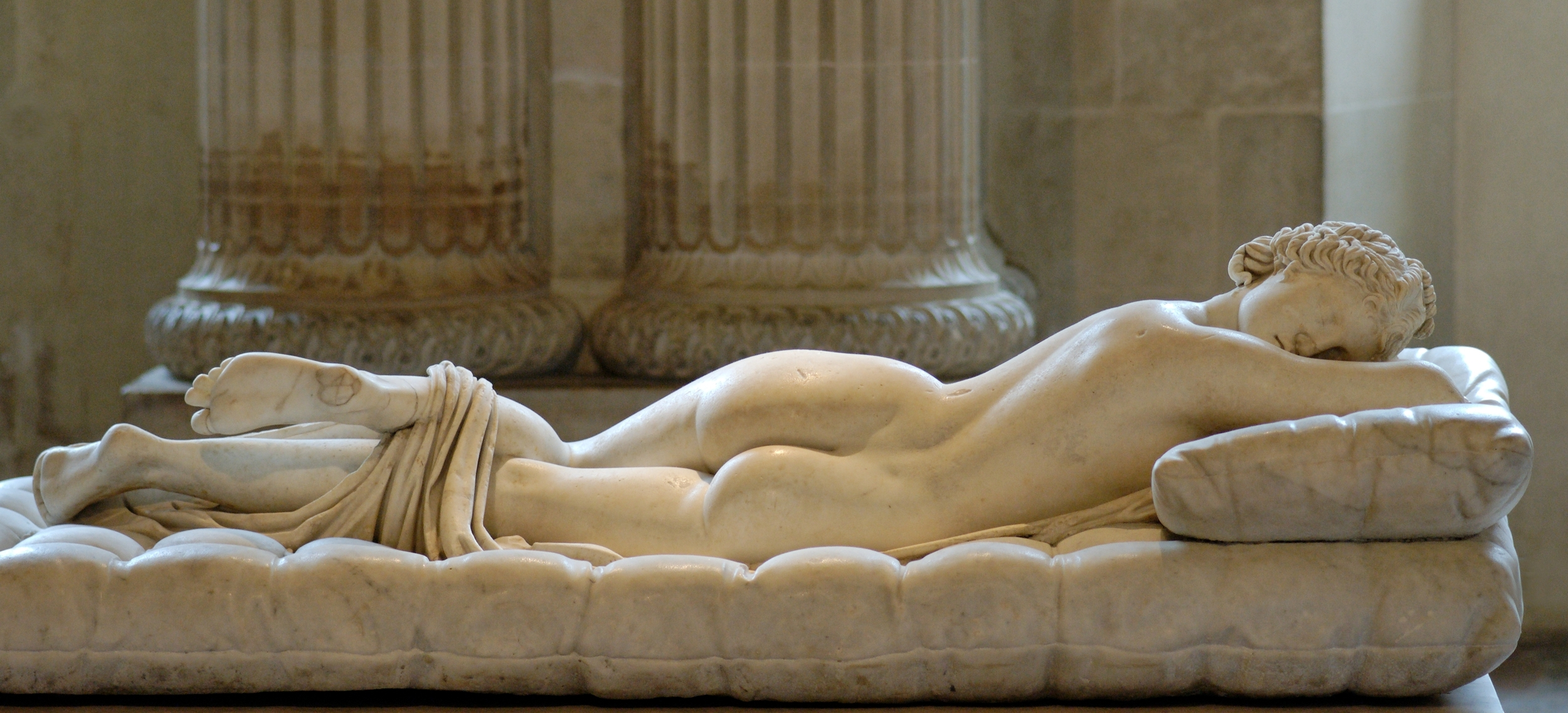"Would the ""Sleeping Hermaphroditus"" (second century Roman copy of the Greek original, Carrera marble, Musée du Louvre) have made a good skier? S/he certainly has the tush for it."