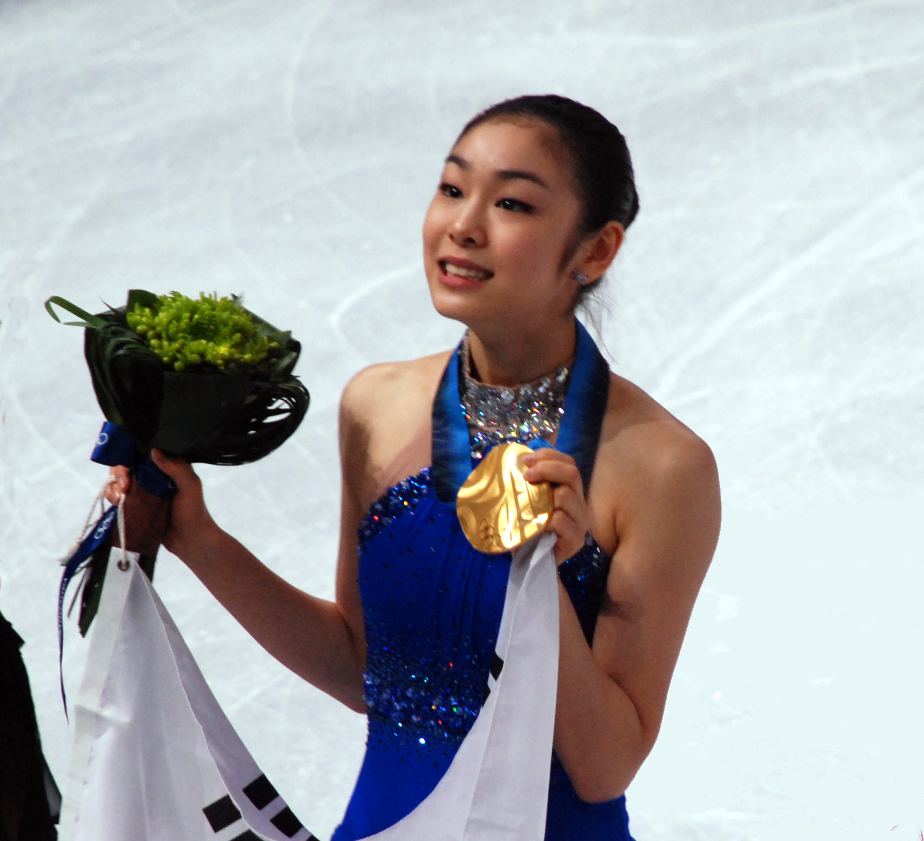 Yuna Kim after taking gold in ladies' figure skating in Vancouver