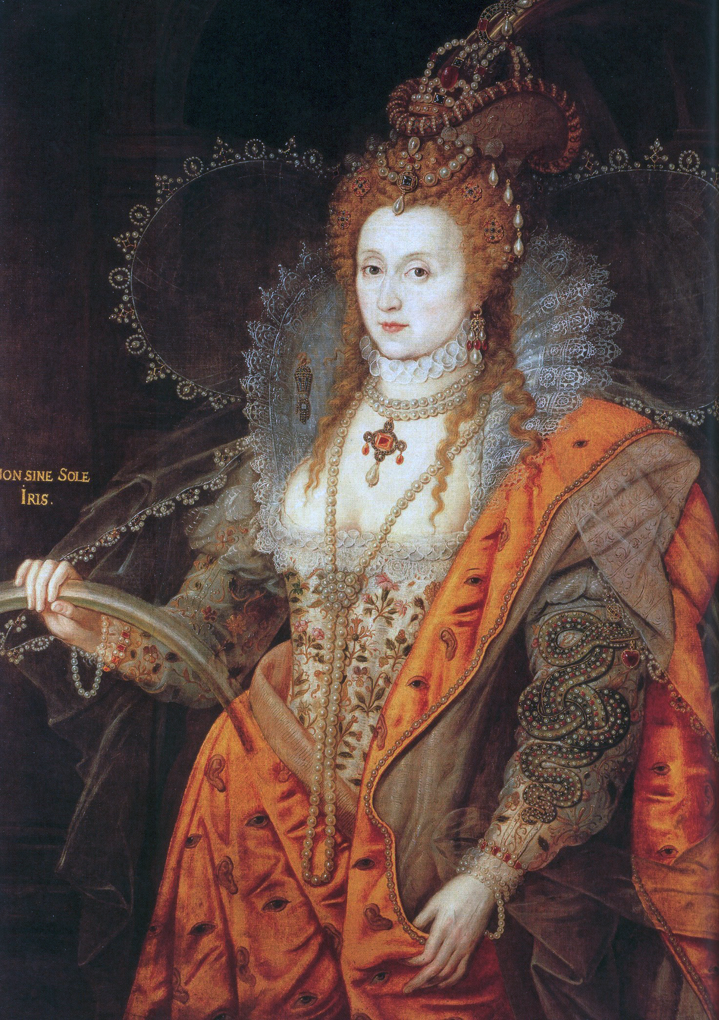 """Dressed to excess: She may have been the Virgin Queen but Elizabeth I had no qualms about displaying her womanly charms in this allegorical """"Rainbow Portrait,"""" 1600-02, oil on canvas. Hatfield House."""