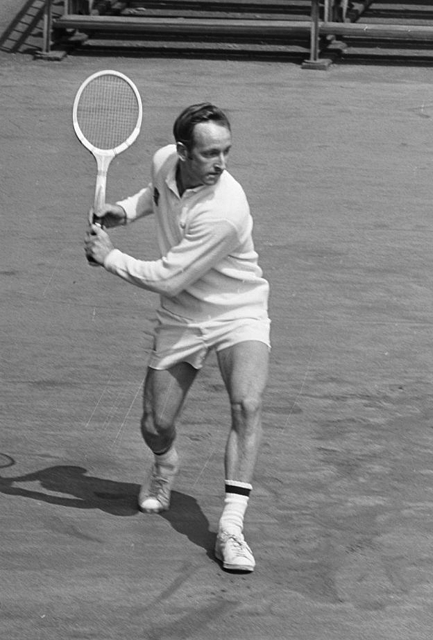 Rod Laver in action in Amsterdam, 1969. Photograph by Evers, Joost/Anefo.