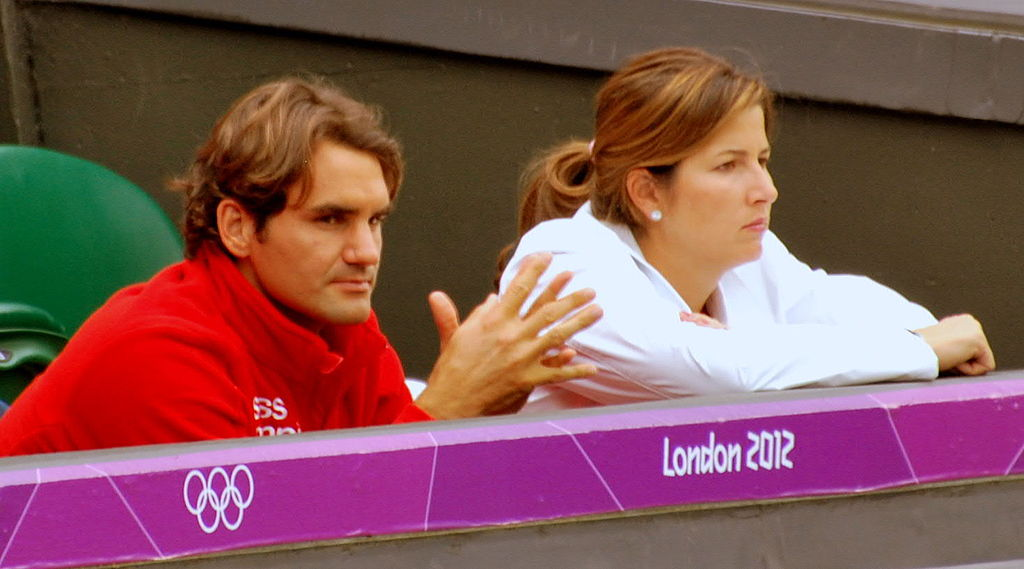 Team Fed: Roger and Mirka at Wimbledon for the 2012 London Olympics. Photograph by Kate Carine.