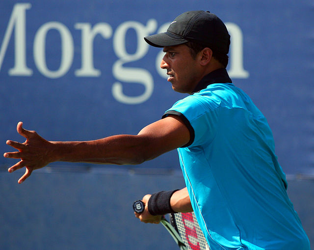 Mahesh Bhupathi, founder of the new International Premier Tennis League, in action at the US Open in 2009. Photograph by Robbie Mendelson