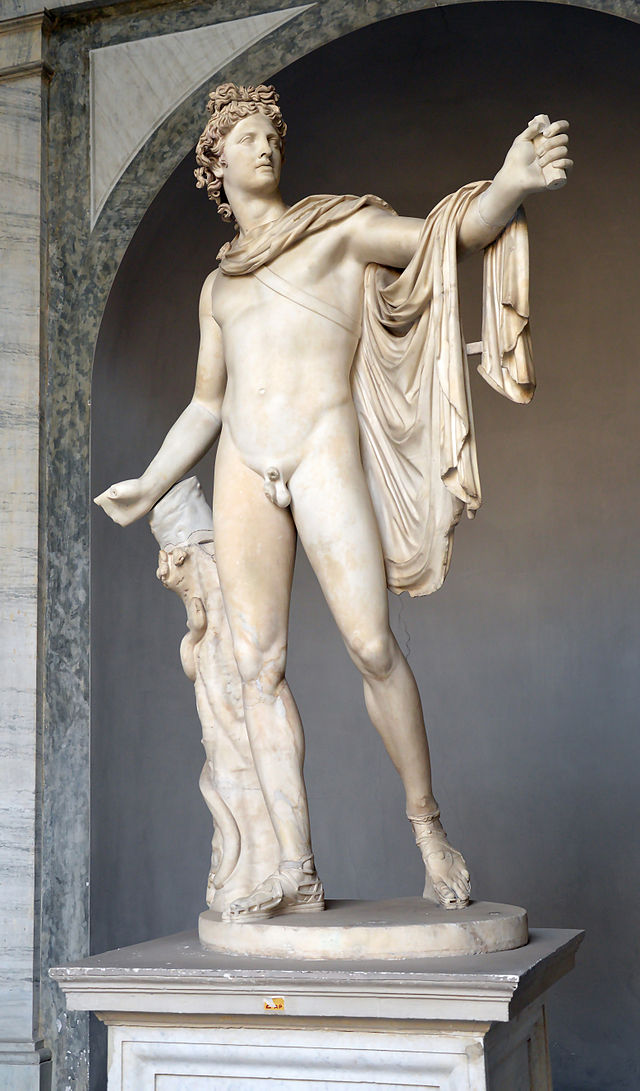 """The original version of Michelangelo's """"Risen Christ"""" or """"Christ Carrying the Cross"""" (1519-20, marble) in the church of Santa Maria sopra Minerva in Rome.  The original version of Michelangelo's """"Risen Christ"""" or """"Christ Carrying the Cross"""" (1519-20, marble) in the church of Santa Maria sopra Minerva in Rome."""