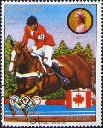 Stamp of Olympic silver medalist Michel Vaillancourt, one of the course designers at Old Salem Farm.