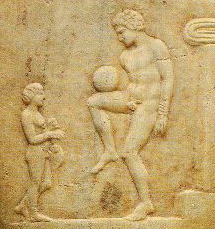 This ancient Greek lekythos depicts a forerunner of soccer.