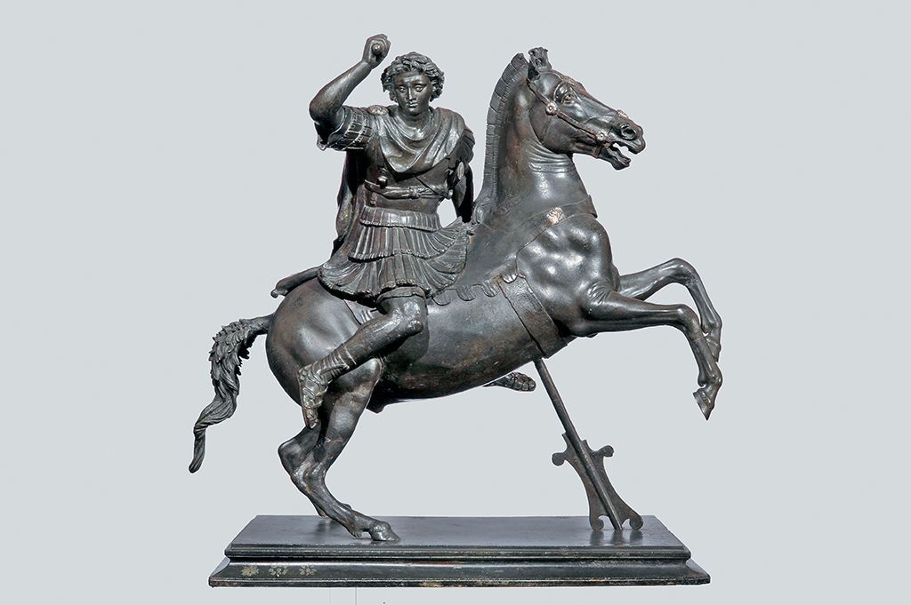 """""""Alexander the Great on Horseback"""" (first century B.C., bronze with silver inlays). Courtesy the J. Paul Getty Museum"""