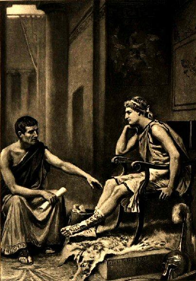 """Aristotle Tutoring Alexander"" (1895) by Jean Leon Gerome Ferris."