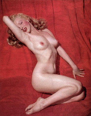 Famous photograph of Marilyn Monroe from the first edition of Playboy (December 1953). Time has rendered it artistic rather than salacious.