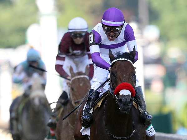 Nyquist, ridden by Mario Gutierrez, crosses the finish line during the 142nd running of the Kentucky Derby at Churchill Downs on May 7.Rob Carr/Getty Images. Photo from  npr.org .