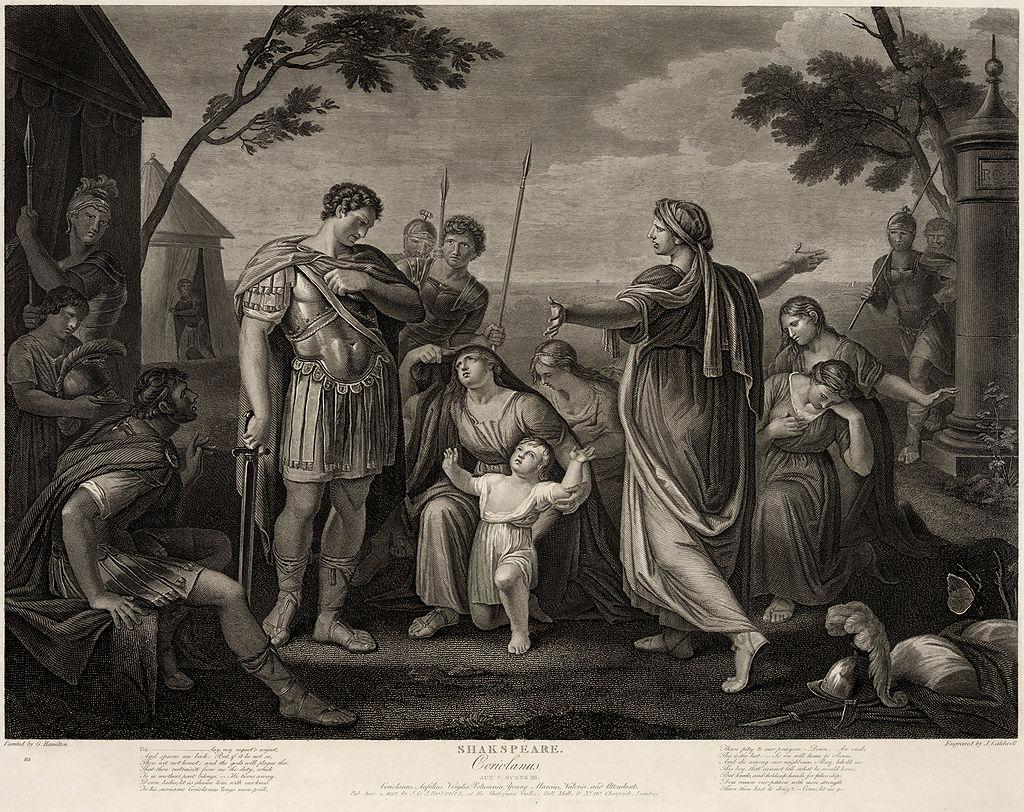 "A James Caldwell engraving of Gavin Hamilton's painting of ""Coriolanus"""