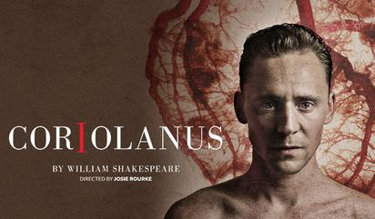 """Poster for the 2013 Donmar Warehouse production of """"Coriolanus"""" with Tom Hiddleston in the title role"""