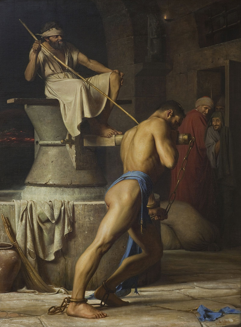 """Carl Heinrich Bloch's """"Samson in the Treadmill"""" (1863), oil on canvas. Courtesy Statens Museum for Kunst."""