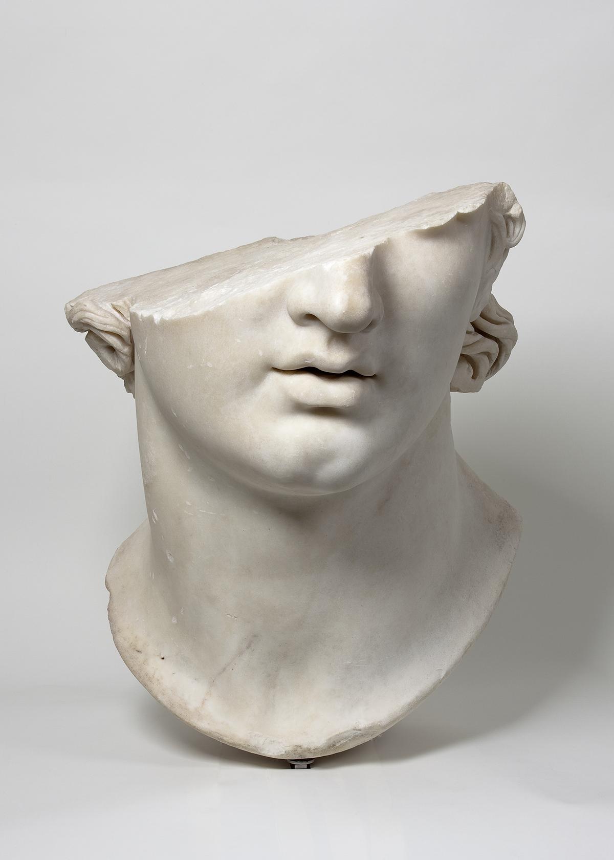"""Fragmentary Colossal Head of a Youth,"" Greek, Hellenistic period, 2nd century B.C., marble.Antikensammlung, Staatliche Museen zu Berlin (AvP VII 283).Images © SMB / Antikensammlung."