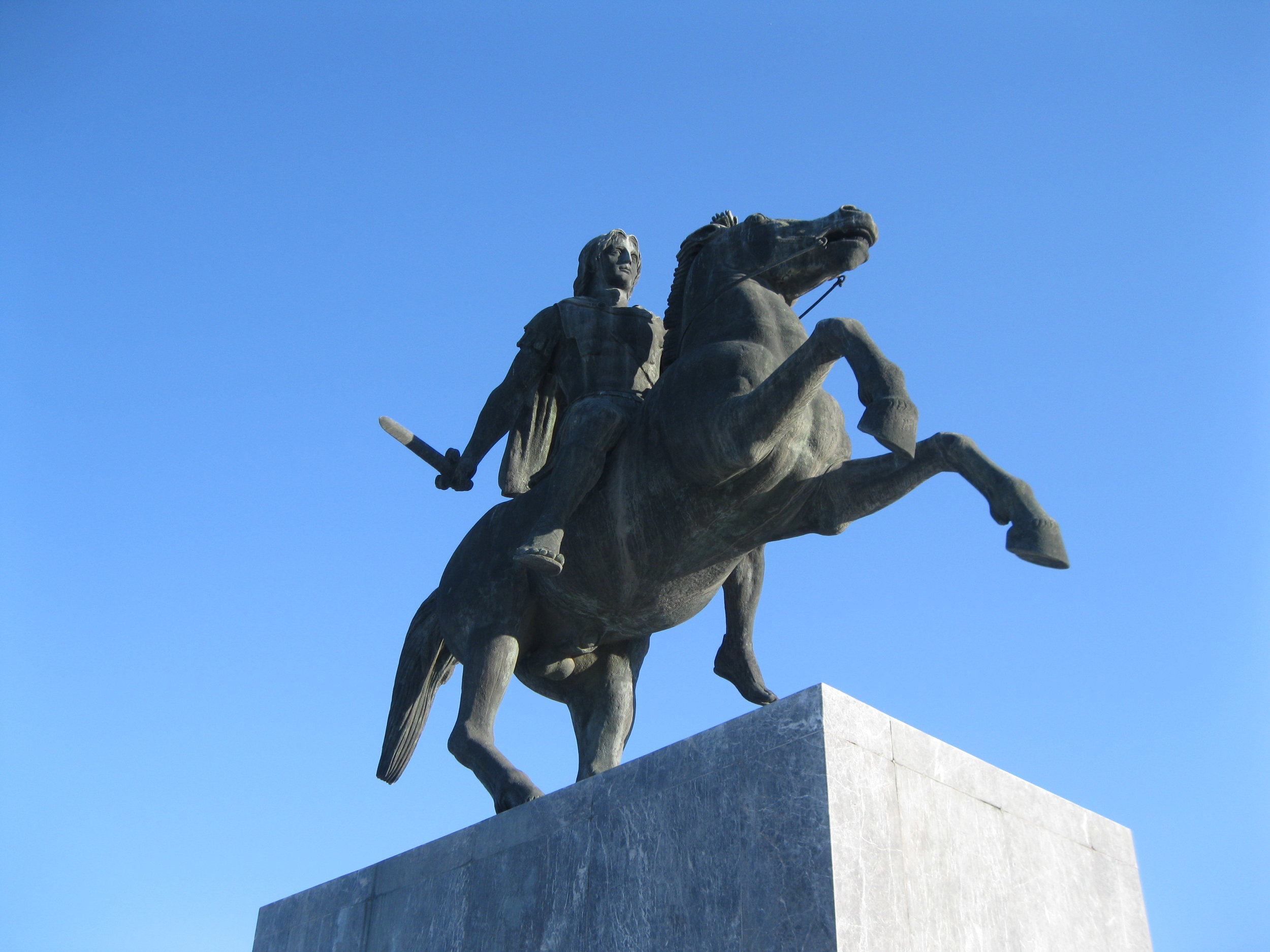 Alexander the Great aboard Bucephalus at the Alexander the Great memorial in Thessaloniki. Photograph by Georgette Gouveia.