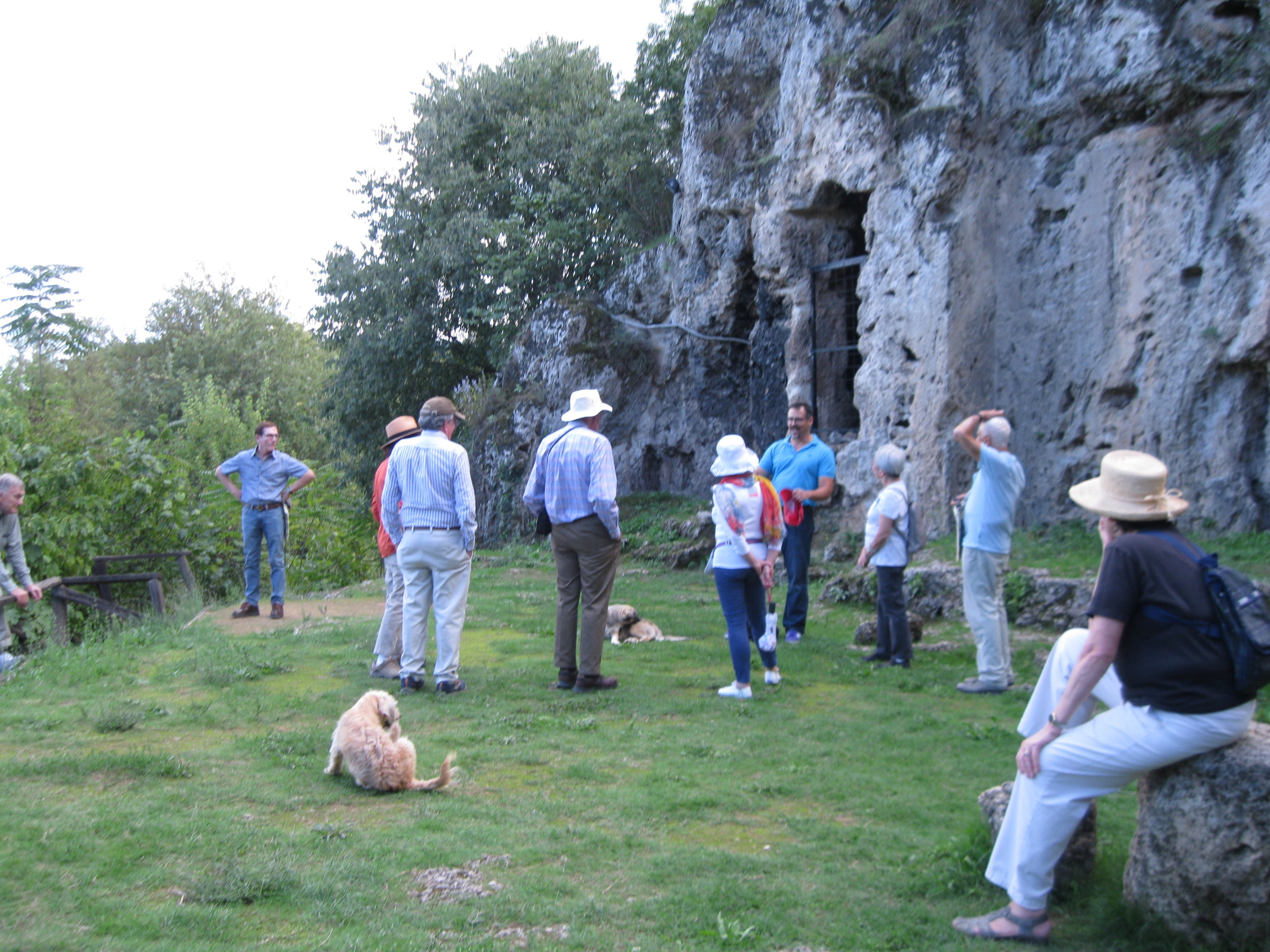 Our Alexandrian group listening to Professor David Ratzan ( far background blue shirt) in the Garden of Mieza. Was this what it was like for Alexander and his Companions listening to Aristotle?