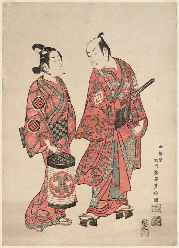A woodblock print by Ishikawa Toyonobu, circa 1740, showing two actors portraying a wakashū (left) and an adult man.